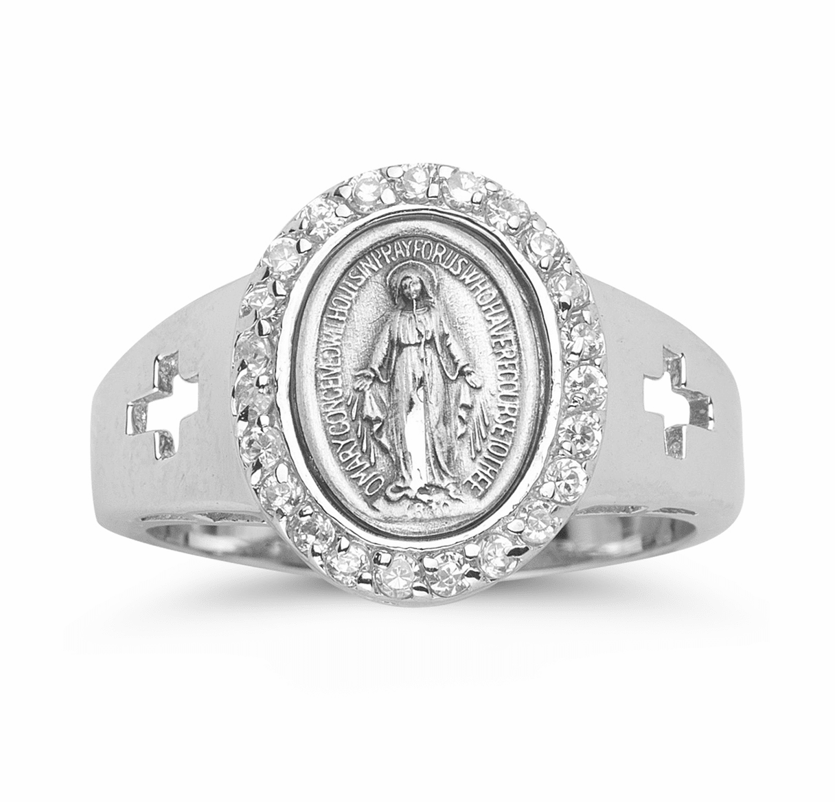 HMH Religious Sterling Silver Miraculous Medal Ring w/Crosses