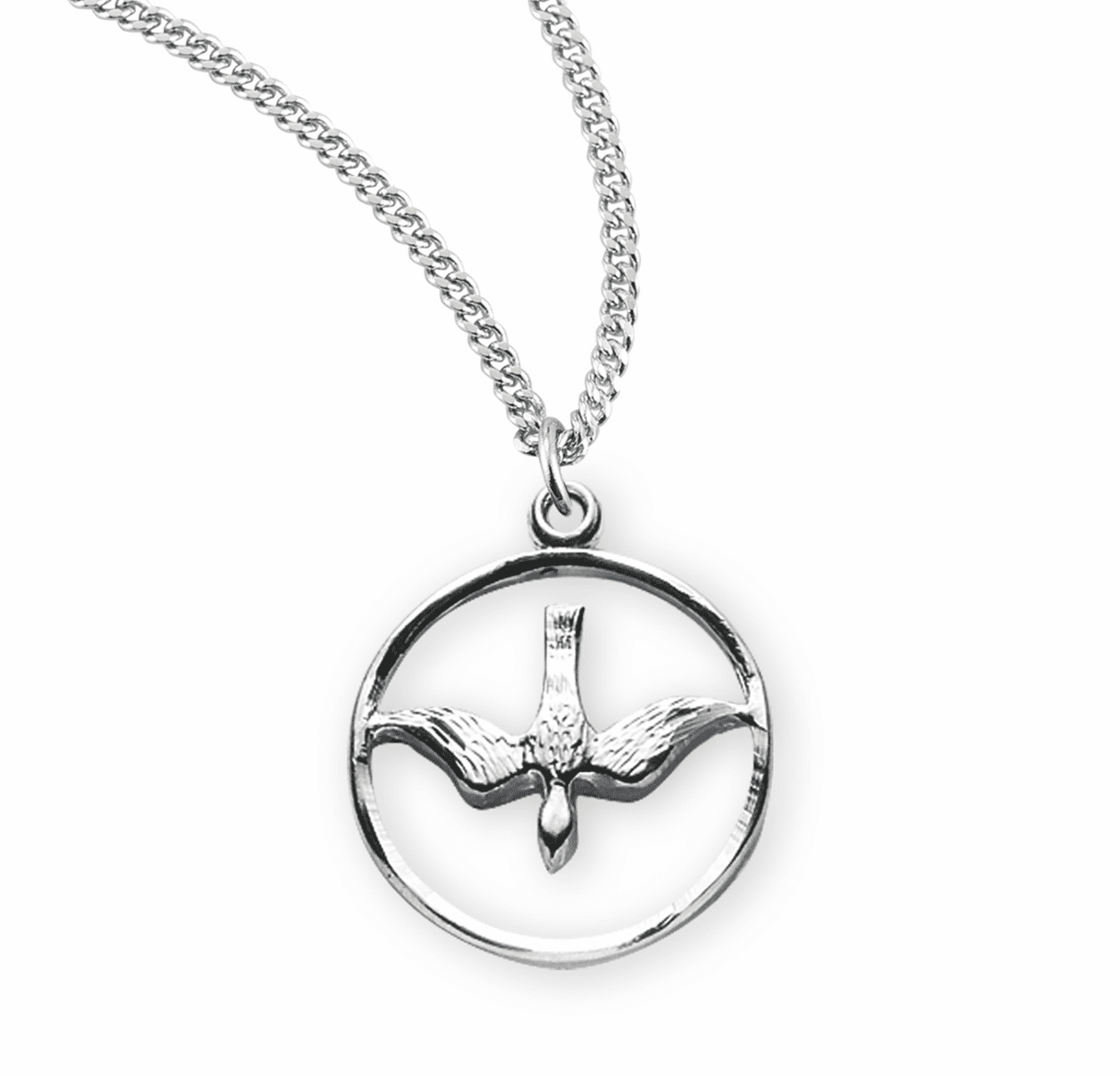 HMH Religious Sterling Silver Open Circle with Dove Necklace