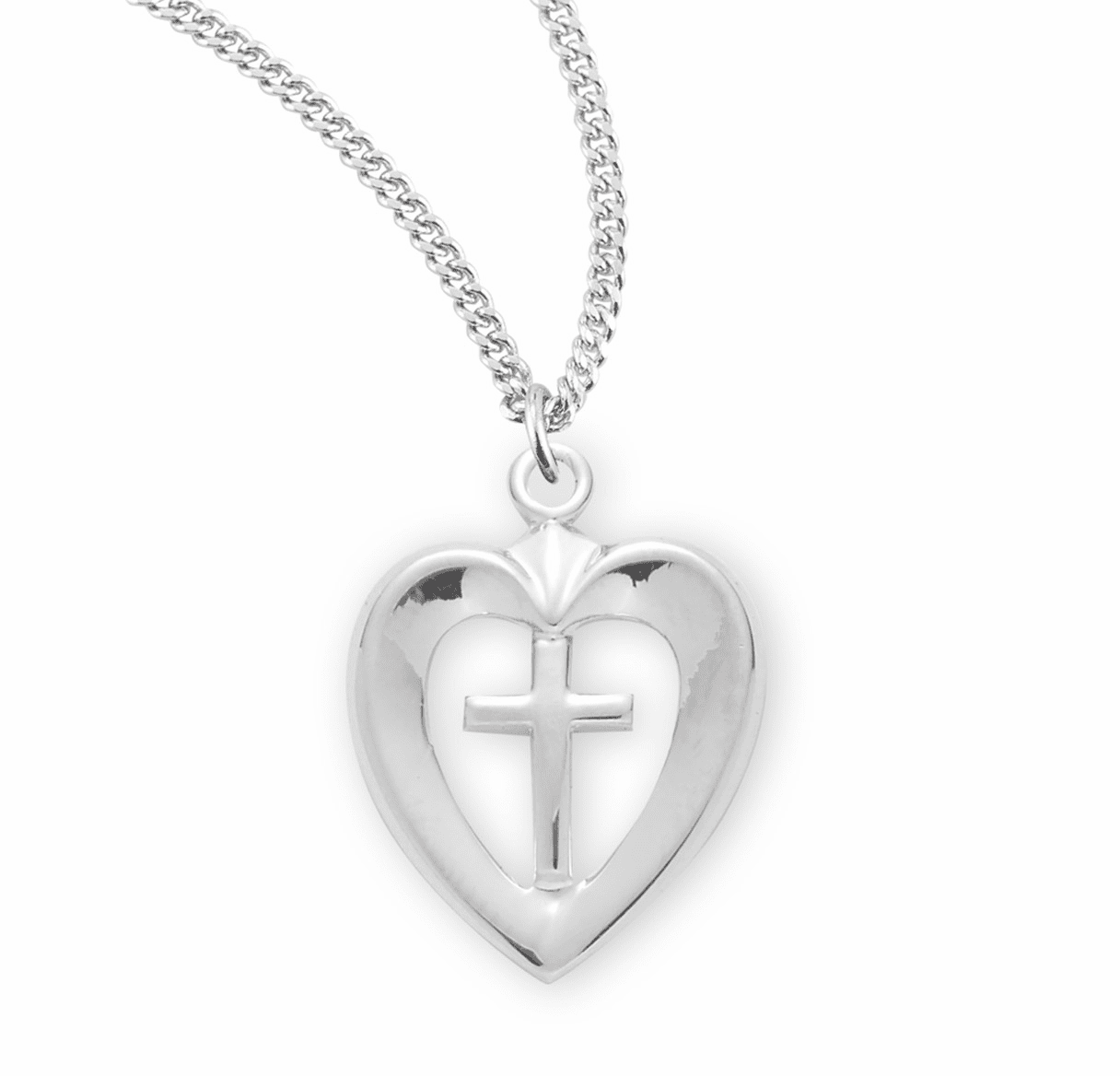 HMH Religious Sterling Silver Open Heart w/Cross Center Necklace