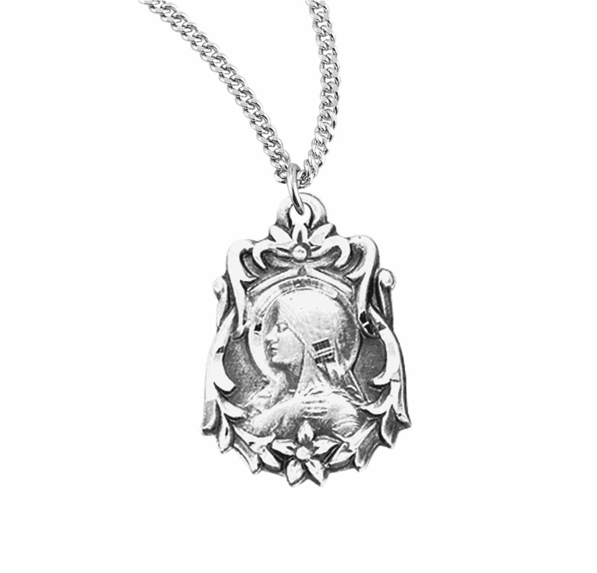 HMH Religious Sterling Silver Our Lady of Sorrow Medal Necklace