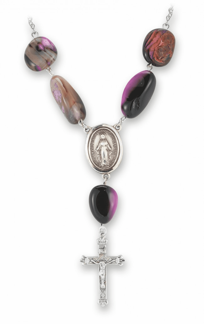 HMH Religious Sterling Silver Rose Agate Natural Stone Necklace