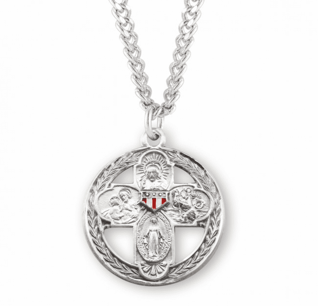 HMH Religious Sterling Silver Round Four-Way Red/White/Blue Cross Necklace