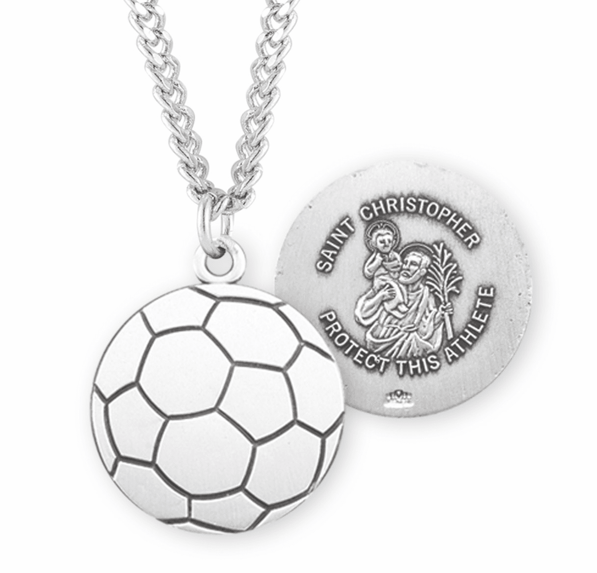 HMH Religious Sterling Silver St Christopher Soccer Ball Necklace