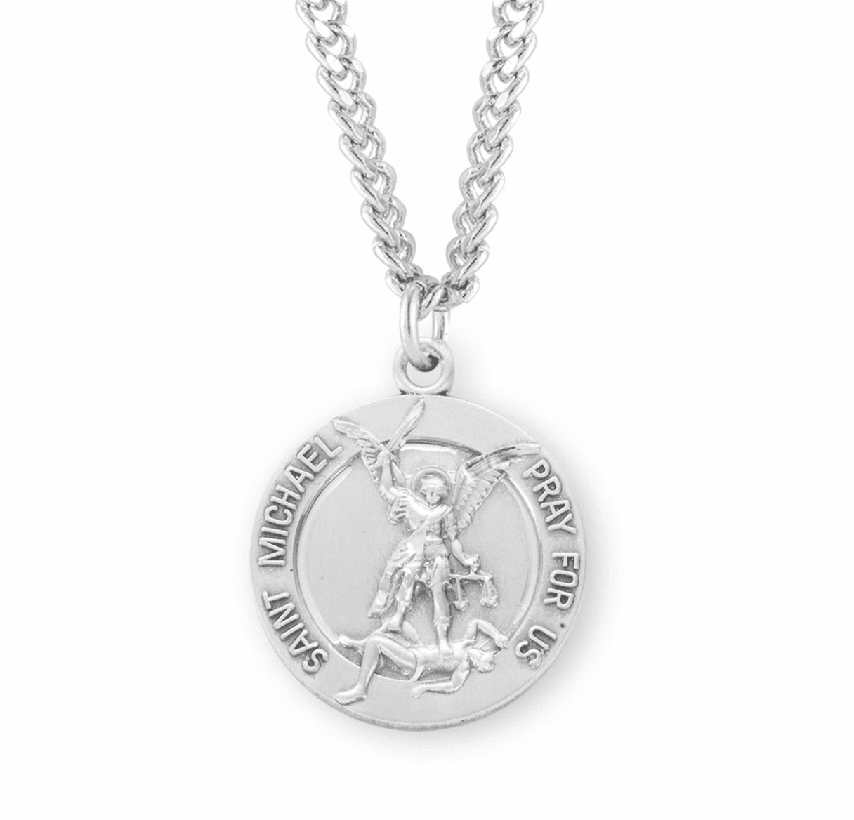 HMH Religious Sterling Silver St Michael Medal w/Guardian Angel on Back Necklace