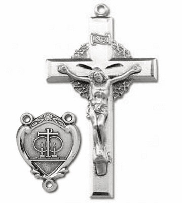 HMH Religious Sterling Silver Wedding Rosary Crucifix and Centerpiece Set