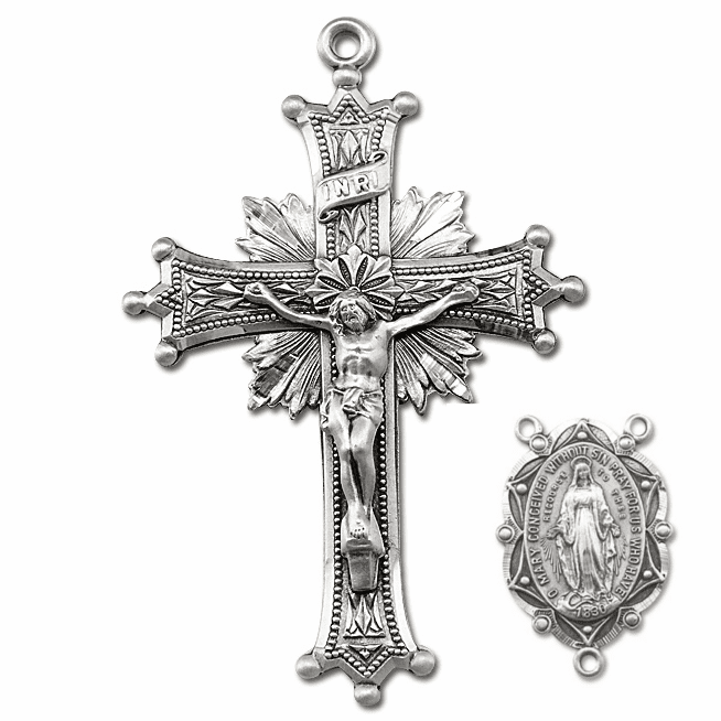 HMH Religious Sun Burst Sterling Silver Crucifix and Centerpiece Rosary Making Set