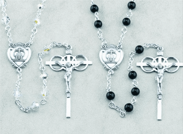 HMH Religious Swarovski Crystal and Onyx Bead Wedding Rosary Set