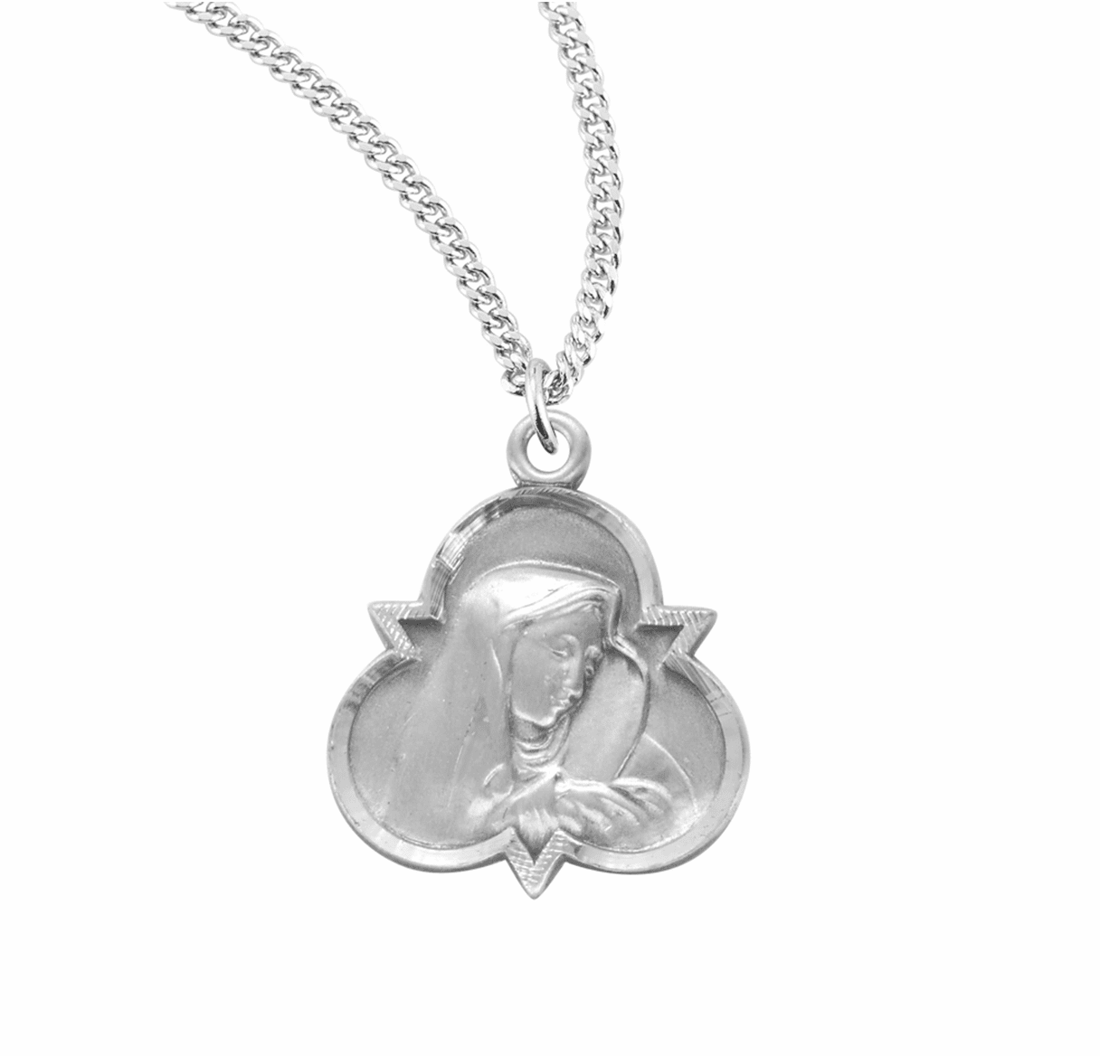HMH Religious Trinity Sterling Silver Saint Therese of Lisieux Medal Necklace