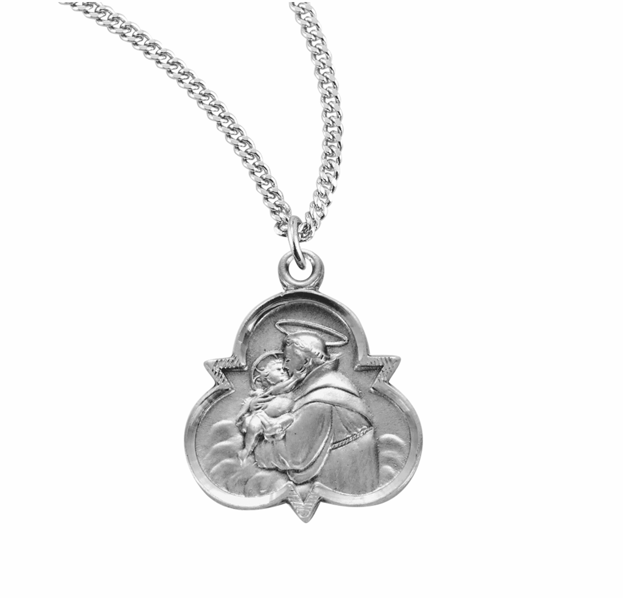 HMH Religious Trinity Sterling Silver St Anthony of Padua Medal Necklace