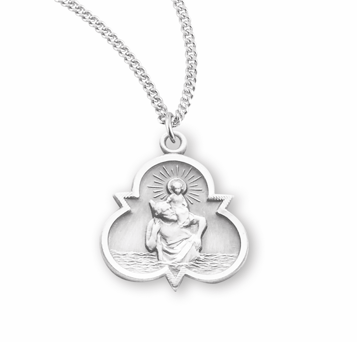 HMH Religious Trinity Sterling Silver St Christopher Medal Necklace