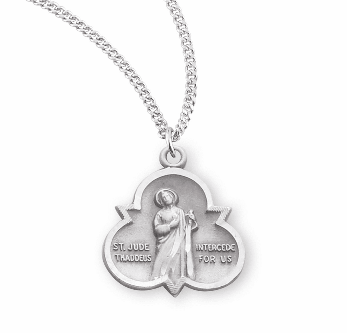 HMH Religious Trinity Sterling Silver St Jude Thaddeus Medal Necklace