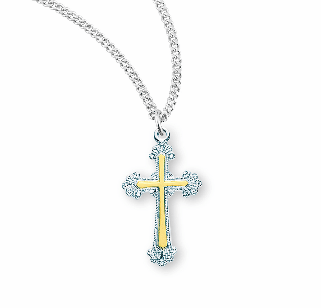 HMH Religious TuTone Sterling Silver Cross w/Fancy Ends Necklace