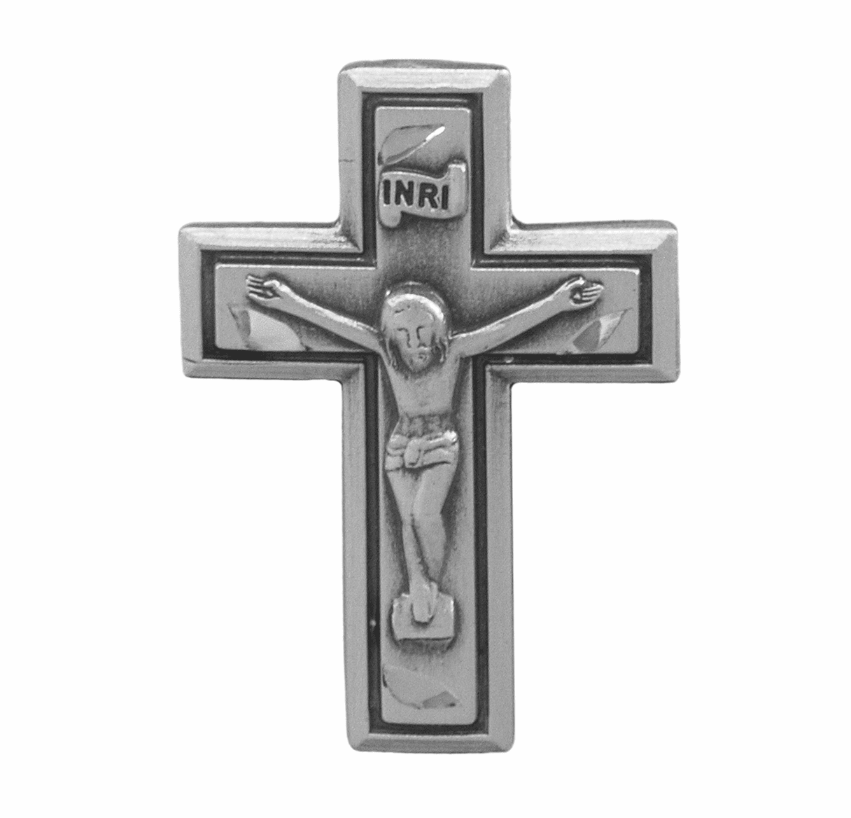 HMH Religious Wide Crucifix Sterling Silver Lapel Pin w/Deluxe Screw