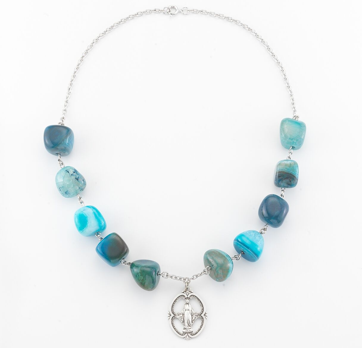 HMH Religous Blue Agate Gemstone Miraculous Necklace