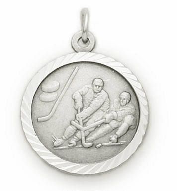 Hockey Player Sterling Silver Pendant with Cross Necklace