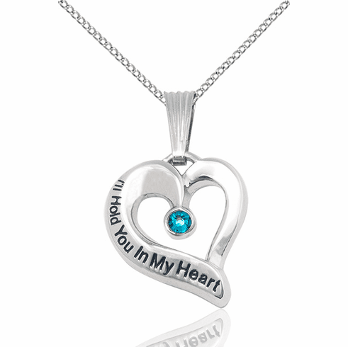 Hold You in My Heart Sterling  December Zircon Birthstone Pendant by Bliss