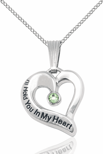 Hold You in My Heart Sterling Silver August Peridot Birthstone Pendant by Bliss,