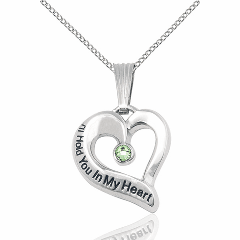 Hold You in My Heart Sterling Silver August Peridot Birthstone Pendant by Bliss