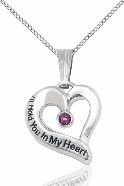 Hold You in My Heart Sterling Silver February Amethyst Birthstone Pendant by Bliss,
