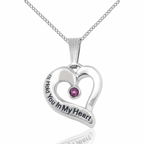 Hold You in My Heart Sterling Silver February Amethyst Birthstone Pendant by Bliss