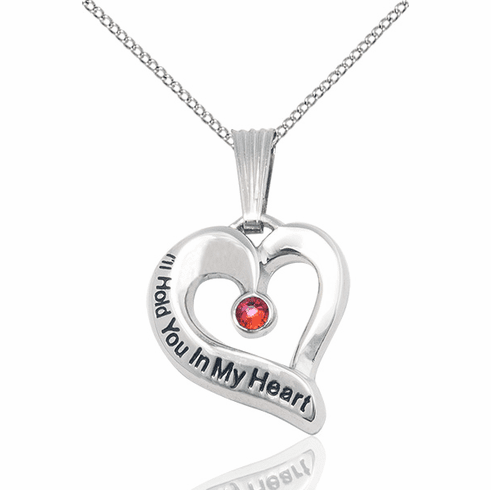 Hold You in My Heart Sterling Silver January Garnet Birthstone Pendant by Bliss