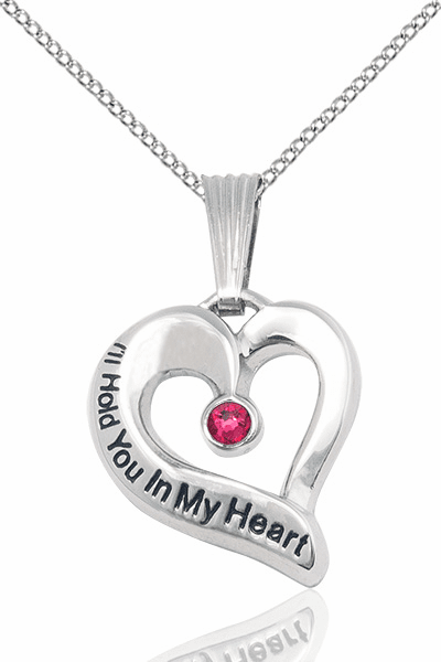 Hold You in My Heart Sterling Silver July Ruby Birthstone Pendant by Bliss,
