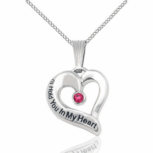 Hold You in My Heart Sterling Silver July Ruby Birthstone Pendant by Bliss