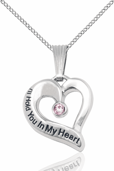 Hold You in My Heart Sterling Silver June Lt Amethyst Birthstone Pendant by Bliss,