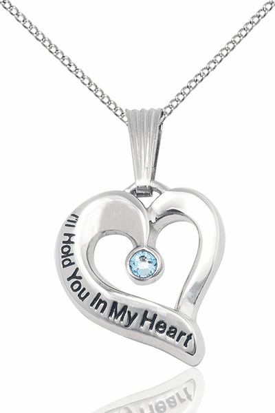 Hold You in My Heart Sterling Silver March Aqua Birthstone Pendant by Bliss,