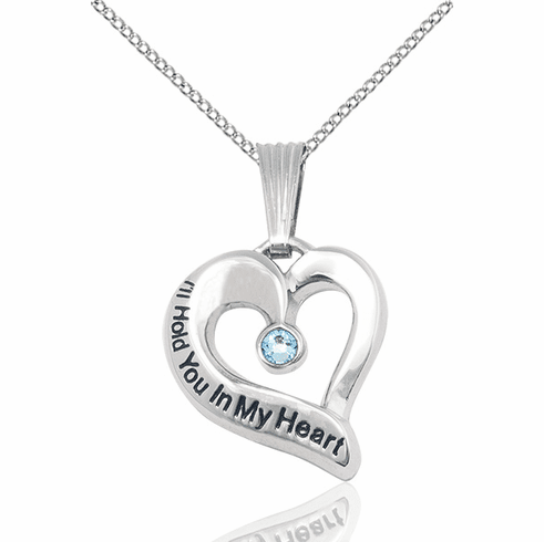 Hold You in My Heart Sterling Silver March Aqua Birthstone Pendant by Bliss