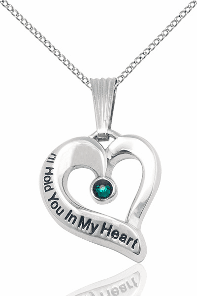 Hold You in My Heart Sterling Silver May Emerald Birthstone Pendant by Bliss,