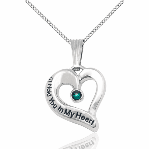 Hold You in My Heart Sterling Silver May Emerald Birthstone Pendant by Bliss