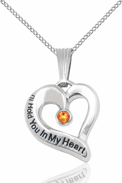 Hold You in My Heart Sterling Silver November Topaz Birthstone Pendant by Bliss,