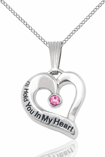Hold You in My Heart Sterling Silver October Rose Birthstone Pendant by Bliss,