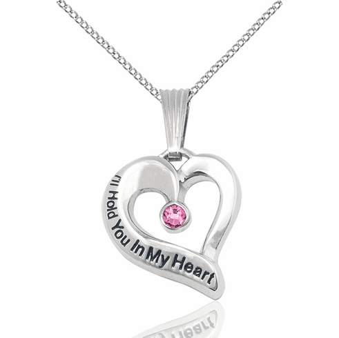 Hold You in My Heart Sterling Silver October Rose Birthstone Pendant by Bliss