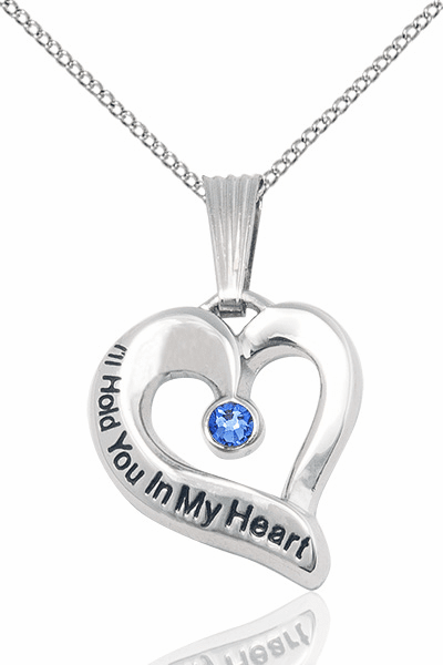 Hold You in My Heart Sterling Silver September Sapphire Birthstone Pendant by Bliss,