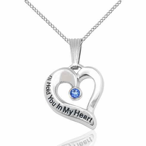Hold You in My Heart Sterling Silver September Sapphire Birthstone Pendant by Bliss