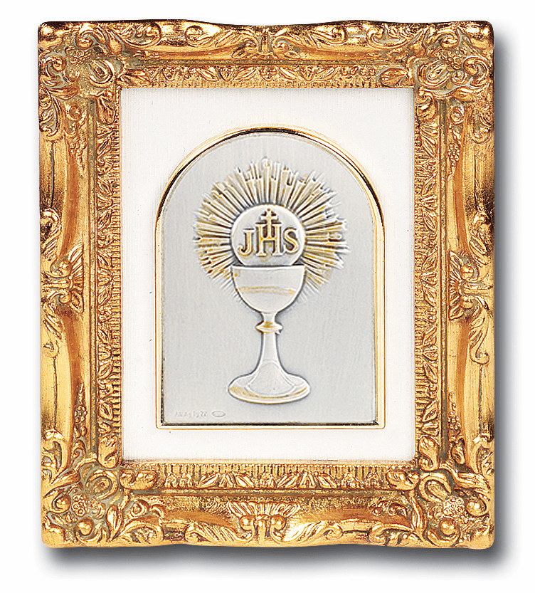 Holy Communion Chalice Silver Image w/Antique Gold Frame Picture by Salerni