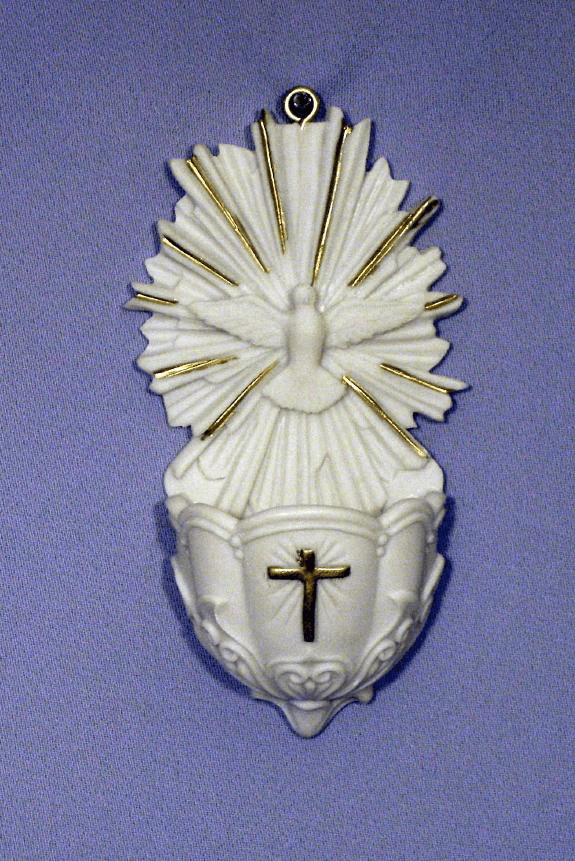 Holy Confirmation Alabaster Water Font with Gold Highlights