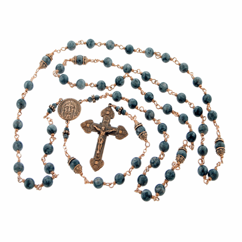 Heavenly Divine Shroud of Turin Labradorite Bronze Wire-Wrapped Rosary