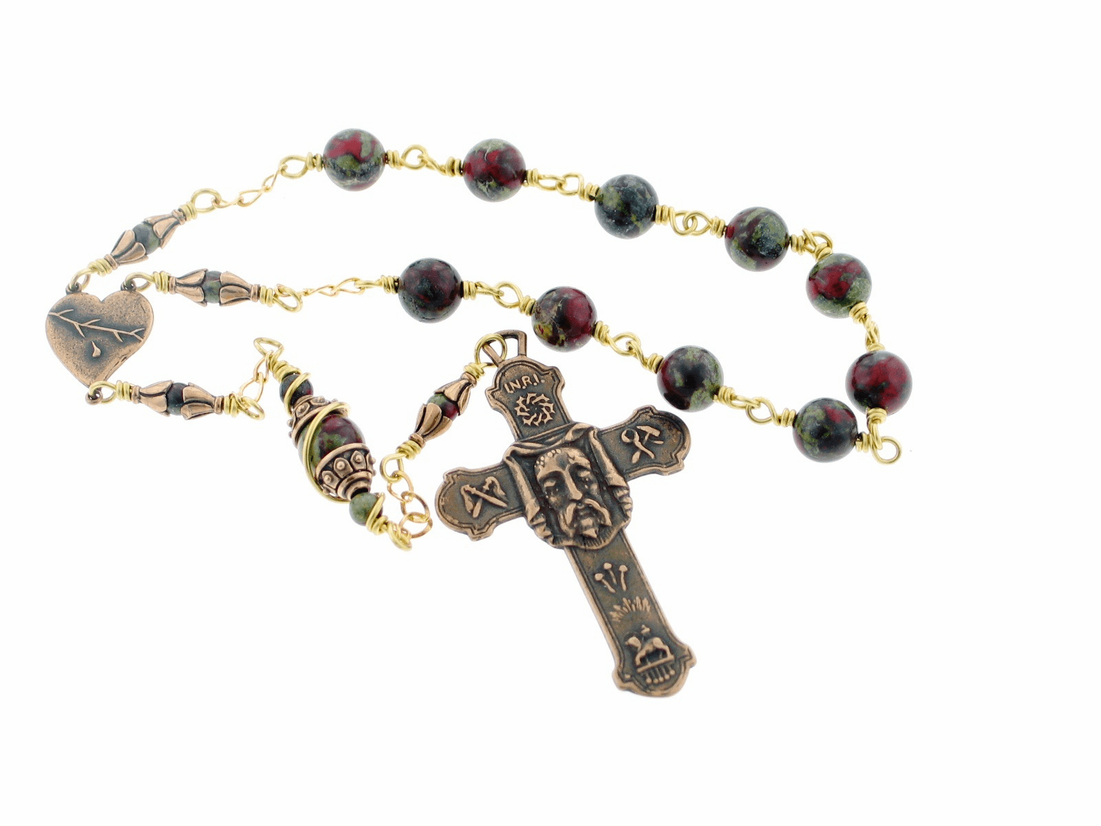 Holy Face Veronica's Veil Bronze Wire Wrapped Pocket Rosary by Heavenly Divine