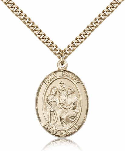 Holy Family Gold Filled Medal Necklace