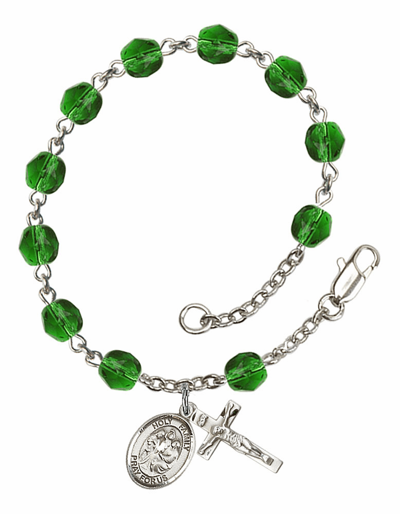 Holy Family May Emerald Birthstone Rosary Bracelet by Bliss