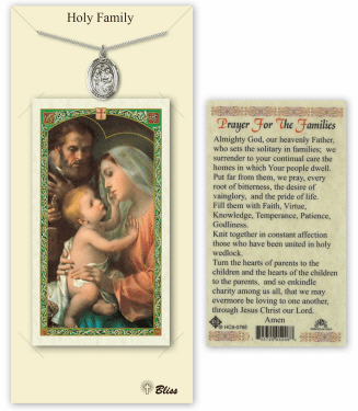 Holy Family Pendant and Holy Prayer Card Gift Set by Bliss