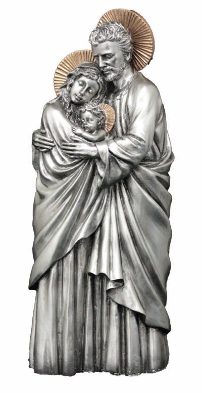 Holy Family Pewter Finish w/Gold Highlights Statue by Veronese