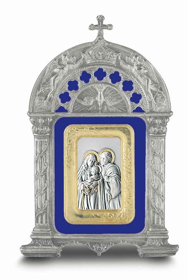 Holy Family Salerni Sterling Image in Blue Enamel Pewter Frame