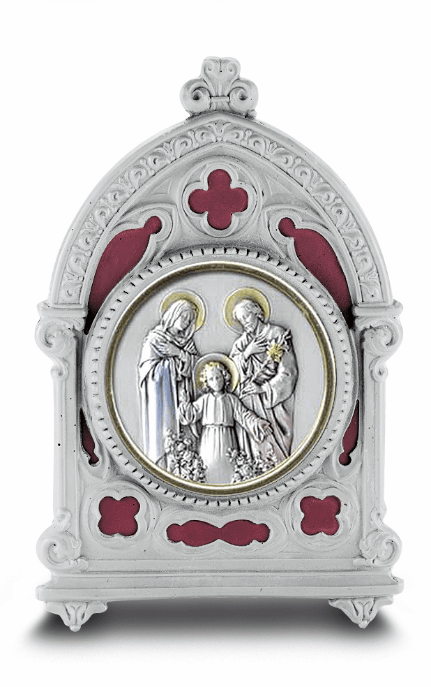 Holy Family Salerni Sterling Image in Burgundy Enamel Pewter Frame