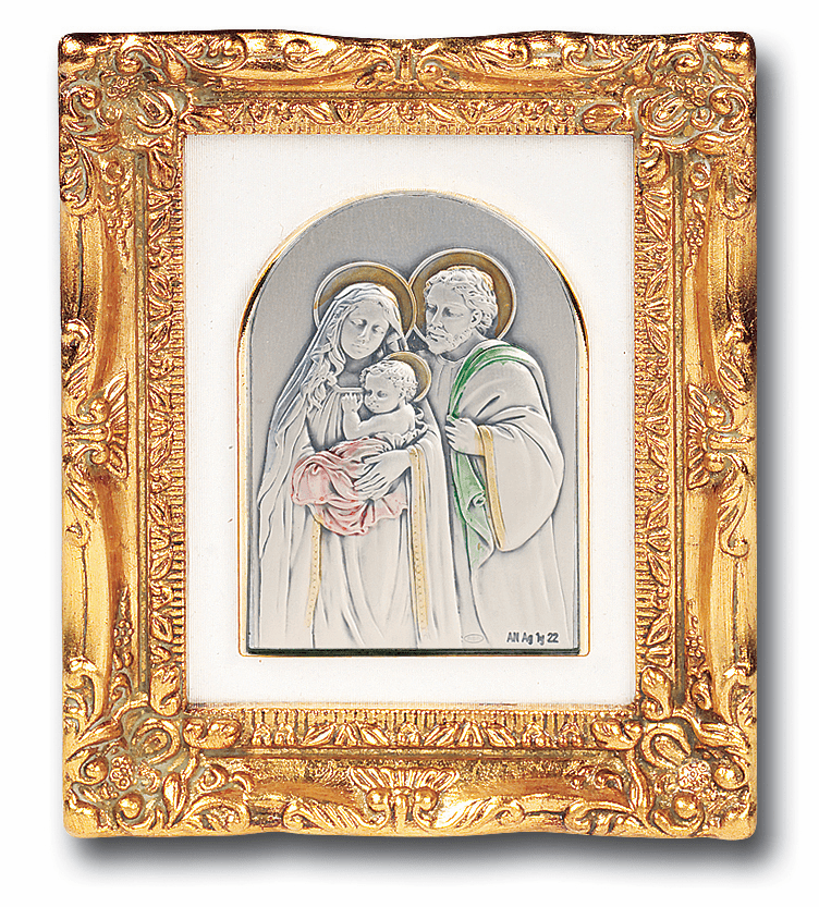 Holy Family Sterling Image w/Antique Gold Leaf Frame Picture by Salerni