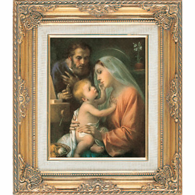 Holy Family under Glass w/Gold Framed Picture by Cromo N B Milan Italy