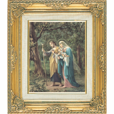 Holy Family Walking under Glass w/Gold Framed Picture by Cromo N B Italy